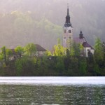Spring rain on lake Bled, Slovenia.