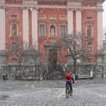 Snow storm in Ljubljana. Street photography in the harsh conditions.