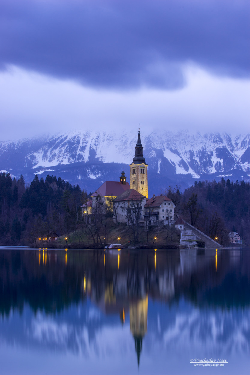 Church on the island of lake Bled (Slovenia)