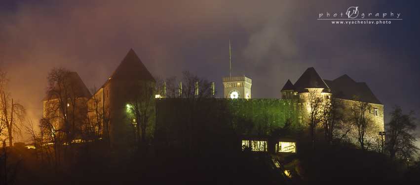 Foggy night over Ljubljana castle